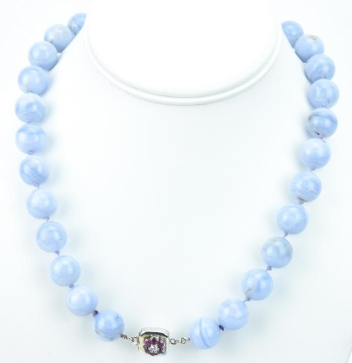 Estate Diamond Ruby & Lace Agate Necklace