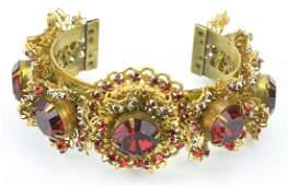 Vintage Gilt Metal Ruby Paste Cuff Bracelet