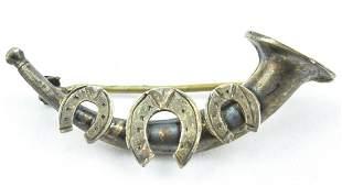 Antique 19th C English Sterling Hunt Horn Brooch