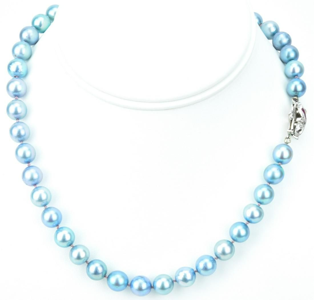 Estate Ruby Diamond & Pearl Necklace