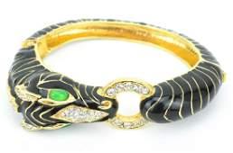 Vintage Ciner Enamel Zebra Bracelet