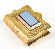 Antique 19th C Gold  Sardonyx Book Form Pendant