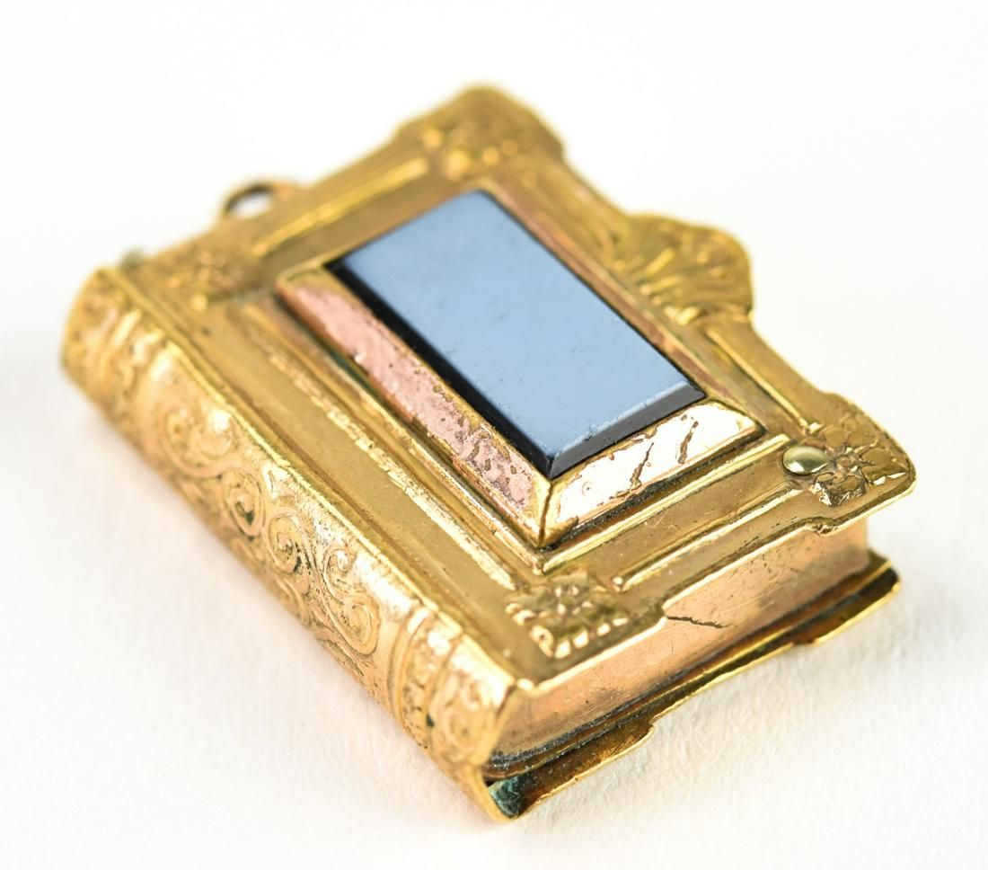 Antique 19th C Gold & Sardonyx Book Form Pendant