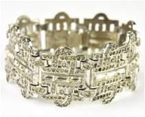 Antique C 1920s Art Deco Paste Set Panel Bracelet