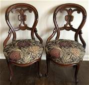 Pair Antique Victorian Carved Slipper Chairs