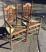 Antique Victorian Carved Rush Bottom Dining Chairs