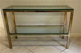 Modern Glass & Brass Tiered Console Table