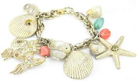 Vintage Costume Jewelry Shell Beach Charm Bracelet
