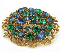 Large Vintage Costume Jewelry Rhinestone Brooch