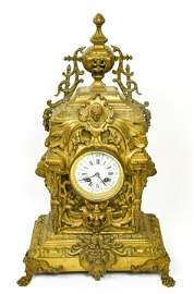 Antique French Bronze Neo Classical Mantle Clock