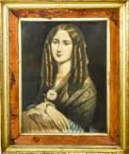 Victorian Portrait Lithograph Woman as Mona Lisa