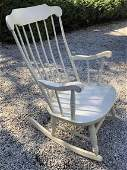 Windsor Style White Carved Wood Rocking Chair