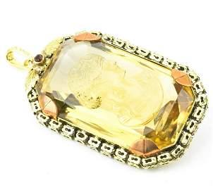 Estate 14kt Yellow Gold Citrine & Diamond Pendant