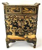 Antique Japanese Black  Gold Lacquer Jewelry Box