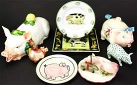 Collection  Porcelain Pig Decorative Items