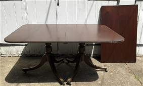 Antique Double Pedestal Sheraton Dining Table