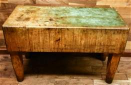 Antique 19th C Solid Wood Butcher Block Table
