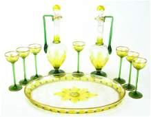 Antique C. 1900 Art Glass Decanter Set