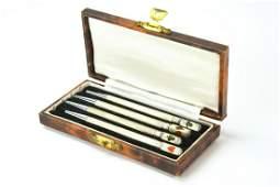 Antique Sterling Silver  Enamel Bridge Pencil Set