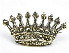 Vintage Sterling Silver  Marcasite Crown Brooch