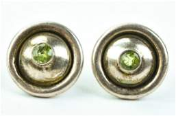 Sterling Silver  Citrine Button Stud Earrings