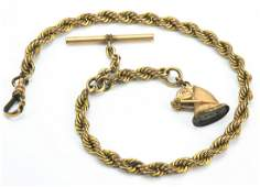 Antique 19th C Gold Filled Watch Chain W Horse Fob