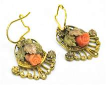 Pair Of Antique 19th C Gold  Coral Earrings