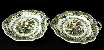 Pair Of Antique 19th C Chinoiserie Platters