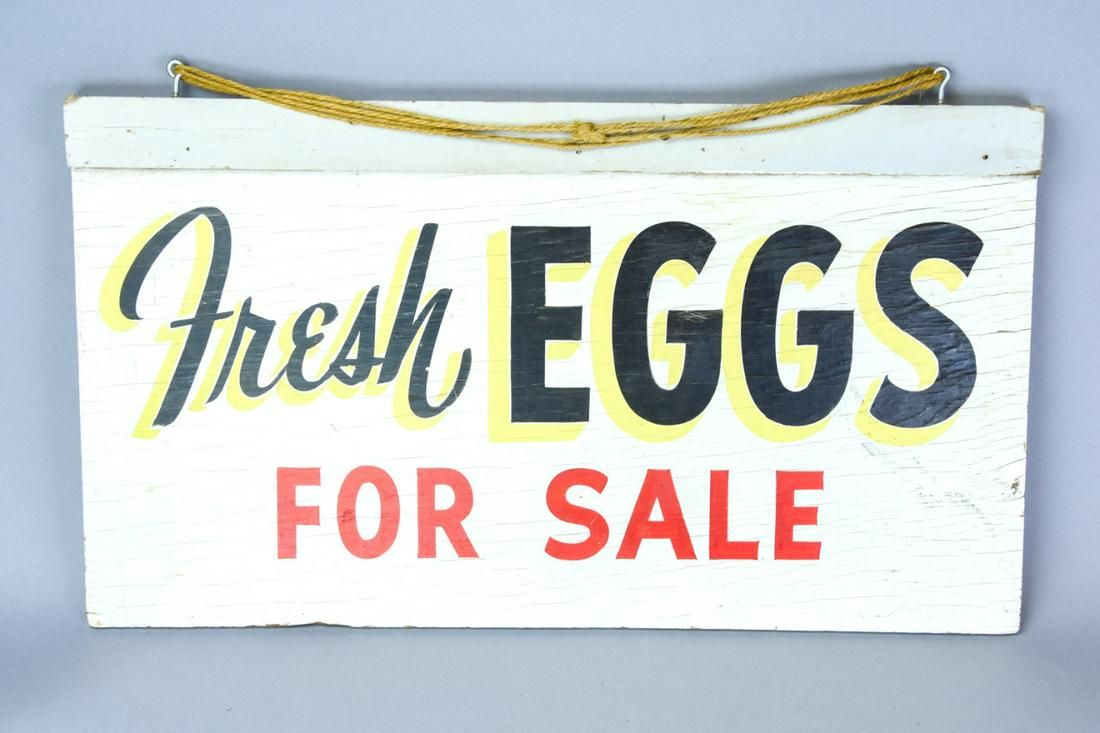 Vintage Fresh Eggs Hand Painted Wood Sign