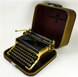 1950s Royal Quiet Deluxe Gold Portable Typewriter