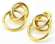 Vintage 14kt Yellow Gold Multi Ring Earrings