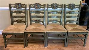 4 French Country Hand Painted Green Dining Chairs