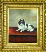 Signed & Framed Antique Papillon Dog Portrait