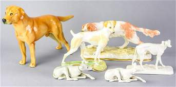 Collection 6 Nymphenburg German Porcelain Dogs
