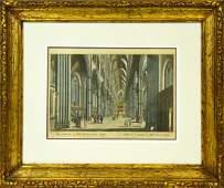 Framed Antique Hand Colored Westminster Engraving