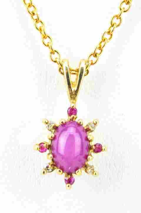 Necklace Pendant W Star Ruby & Diamond Halo