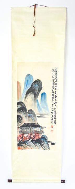 Chinese Scroll - Hand Painted Landscape Scene