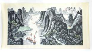 Large Chinese Scroll Hand Painted Landscape Scene