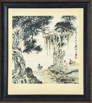 Chinese Watercolor Painting Landscape w Figures