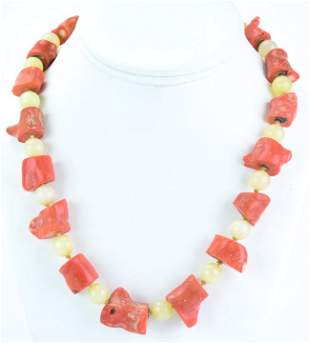 Estate Chinese Jade & Natural Coral Necklace