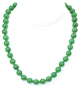 Estate Green Jade Hand Knotted Necklace Strand