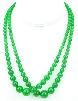 Pair Graduated Green Jade Bead Necklaces