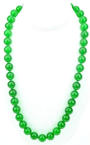 Green Nephrite Jade Necklace W 16mm Beads