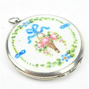 Antique C. 1900 Sterling & Enamel Locket