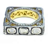 Estate 2 Carat Rose Cut Diamond Gold Sterling Ring