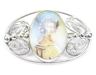 Antique Sterling Brooch W Portrait Miniature