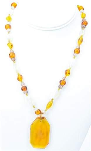 Antique Art Glass & Cameo Glass Necklace