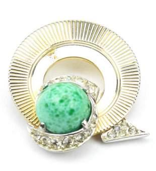 Vintage Marcel Boucher Jade Glass Brooch