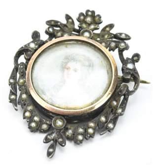 Antique 800 Silver & Seed Pearl Portrait Miniature