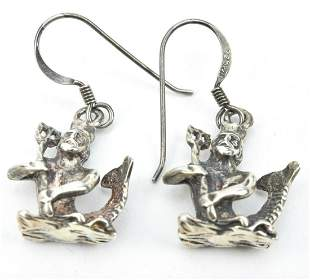 Pair Sterling Silver Mythological Neptune Earrings